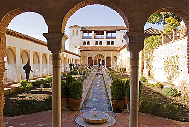 Moorish architecture, Patio de la Acequia, Alhambra, Granada, Andalusia, Spain