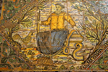 Tile picture, La Certosa di Peduale Monastery, Padula, province of Salerno, Campania, South Italy, Italy, Europe