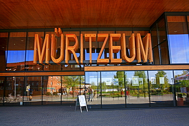 Mueritzeum in capital letters, Germany's largest aquarium for native freshwater fish, Waren on the Mueritz, Mecklenburg-Western Pomerania, Germany, Europe