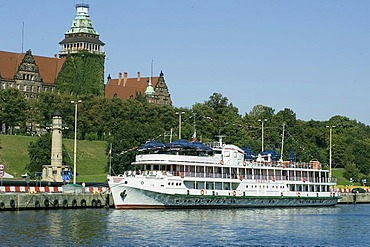 Touristship on the pier, Stettin, Szczecin, West Pomerania, Poland