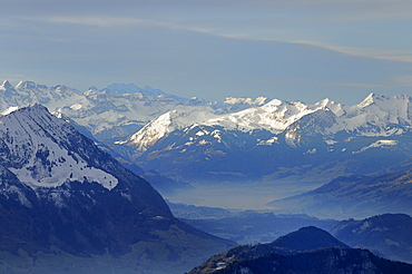 View of the snow-covered Central Swiss Alps from Mt. Rigi, Schwyz, Switzerland, Europe
