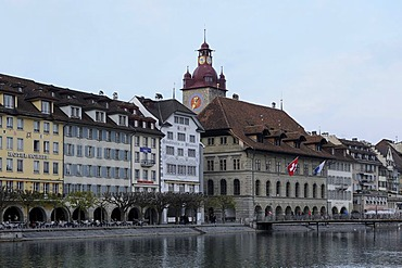 Buildings along the Reuss River in the historic centre of Lucerne, Switzerland