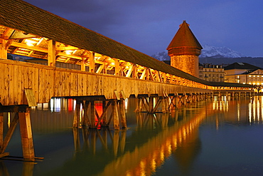 Kapellbruecke, Chapel Bridge and Wasserturm Tower at dusk, Lucerne, Switzerland
