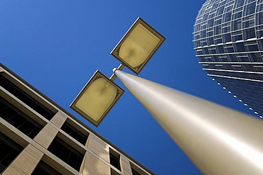 Streetlamp between modern and older architecture, Pariser Platz, Stuttgart, Baden-Wuerttemberg, Germany
