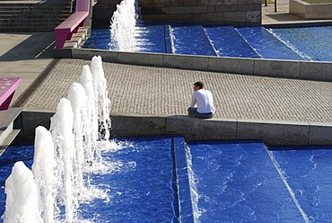 Fountains between state gallery and house of history culture mile Stuttgart Baden Wuerttemberg Germany
