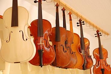 Violins in luthiers workshop