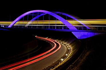 Bridge with light trails at night, Stuttgart, Baden-Wuerttemberg, Germany, Europe