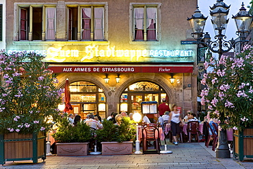 Restaurant, Gutenberg Square, Strasbourg, Alsace, France, Europe