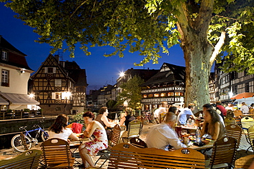 Street cafes in Petite France, Strasbourg, Alsace, France, Europe