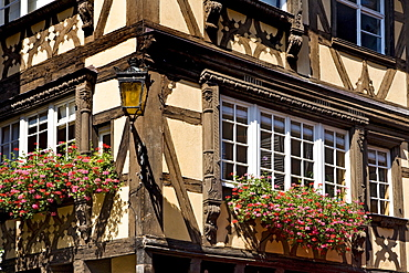 Window, half-timbered house, Petite France, Strasbourg, Alsace, France, Europe