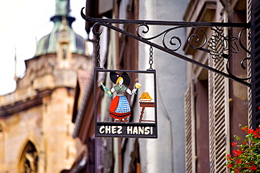 Sign, restaurant, historic town centre, Colmar, Alsace, France, Europe
