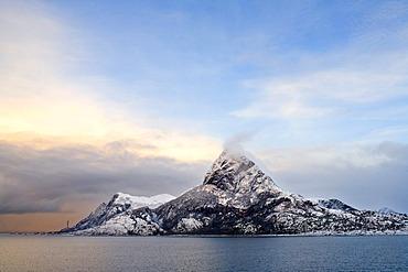Cruise with the Hurtigruten, Norwegian Coastal Express, coast near ornes, North Norway, Scandinavia, Europe