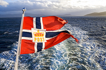 Cruise with the Hurtigruten, Norwegian Coastal Express, postal flag, North Norway, Scandinavia, Europe