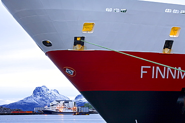 Cruise with the Hurtigruten, Norwegian Coastal Express, Hurtigruten MS Finnmarken Ship in Bodo harbour, North Norway, Scandinavia, Europe