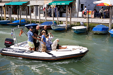 People and a dog on a boat, Murano, Lagoon, Venice, Italy, Europe