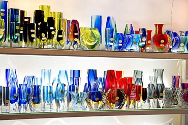 Vases made of Murano-glass in a shop, Murano, Venetian Lagoon, Italy, Europe