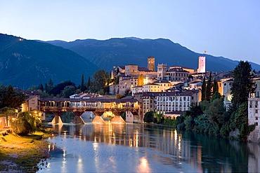 View of the city, Brenta River, Alpini's Bridge, Bassano del Grappa, Veneto, Italy, Europe