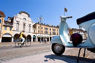 Vespa on the Piazza dei Martiri Square, Belluno, Veneto, Italy, Europe