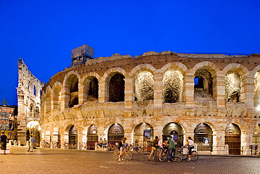 Illuminated Arena, Piazza Bra, Verona, Venice, Italy, Europe