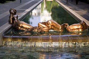 Sculptures on a fountain, Abano Terme, Euganean Hills, Veneto, Italy, Europe