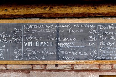 Wineboard in the Osteria BancoGiro bar, Venice, Venezia, Italy, Europe