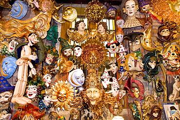 Carnival masks in a shop, Venice, Veneto, Italy, Europe
