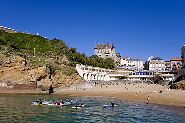 Surfers in the Old Harbour, Port Vieux, Biarritz, Basque Country, South France, France, Europe