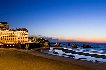 Bellevue Hotel on the Grande Plage Beach, Biarritz, Basque country, Southern France, France, Europe