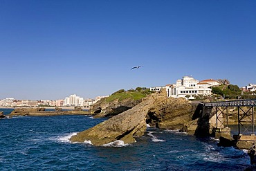 Rocky coast, Biarritz, Basque country, Southern France, France, Europe
