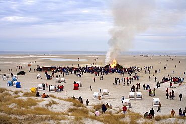 Easter bonfire at the beach on Amrum Island, North Frisia, Schleswig-Holstein, Germany, Europe