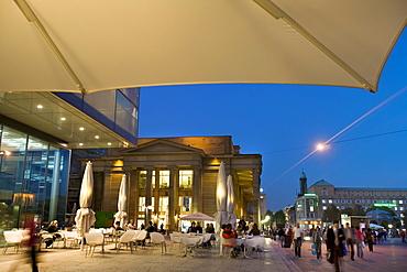 Cafe in front of the Art Museum, Koenigsstrasse Street, Schlossplatz Square, Stuttgart, Baden-Wuerttemberg, Germany, Europe