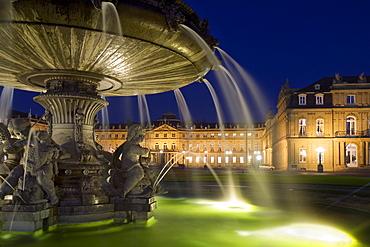 Fountain on Schlossplatz Square, New Castle, Stuttgart, Baden-Wuerttemberg, Germany, Europe