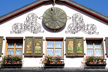 Ornamental facade, Altenahr, Ahrtal Valley, Eifel Range, Rhineland-Palatinate, Germany, Europe