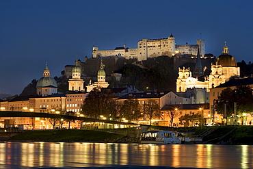 Historic centre and Hohensalzburg Fortress, Salzach, Salzburg, Austria, Europe