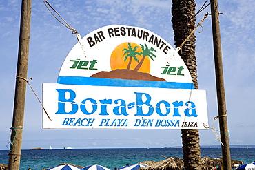 Sign of the beach disco Bora-Bora, Platja den Bossa, Ibiza, Balearic Islands, Spain, Europe