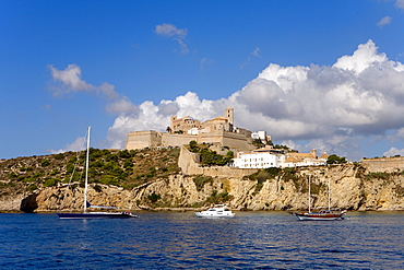 View of the coast and the historic city Dalt Vila over the ocean, Ibiza, Balearic Islands, Spain, Europe