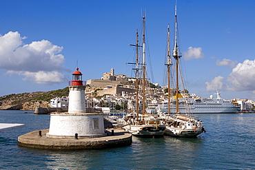 Ships in a harbour, historic city Dalt Vila, Ibiza, Balearic Islands, Spain, Europe