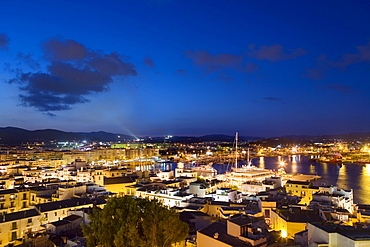 Evening mood in the harbour, Ibiza, Balearic Islands, Spain, Europe