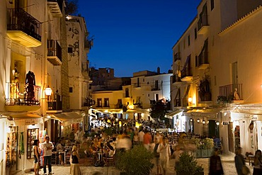 Illuminated restaurants in the historic city Dalt Vila, Ibiza, Balearic Islands, Spain, Europe