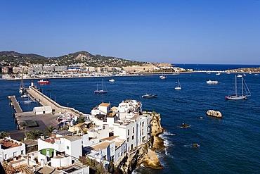 View of the fisher¥s district Sa Penya, Ibiza, Balearic Islands, Spain, Europe