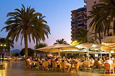 Restaurants on the sea front of Sant Antoni de Portmany, Ibiza, Balearic Islands, Spain, Europe