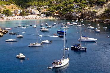 Boats, boat shed in the bay of Cala Vadella, Ibiza, Balearic Islands, Spain, Europe