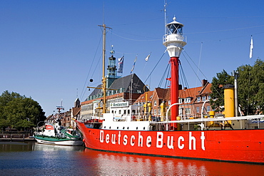 Museum ship, lightship named Deutsche Bucht, German bay, Ratsdelft harbour in front of the city hall, Emden, East Frisia, Lower Saxony, Germany, Europe