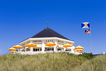 Cafe Marienhoehe amidst the dunes, Norderney, East Frisian Islands, Lower Saxony, Germany, Europe
