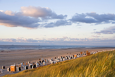 Beach and sand dunes at dusk, Spiekeroog Island, East Frisian Islands, Lower Saxony, Germany, Europe