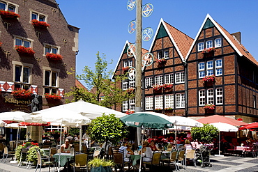 Restaurants located on Spiekerhof courtyard, Muenster, North Rhine-Westphalia, Germany, Europe