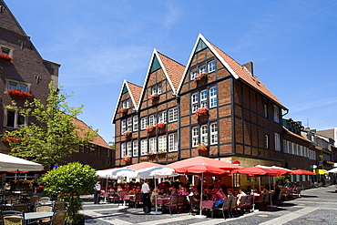 Restaurants at Spiekerhof, Muenster, North Rhine-Westphalia, Germany, Europe