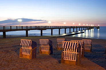 Beach chairs in evening light, pier, Kuehlungsborn, Baltic Sea, Mecklenburg-Western Pomerania, Germany, Europe