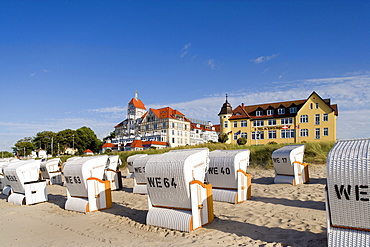 Beach chairs on the beach, Kuehlungsborn, Baltic Sea, Mecklenburg-Western Pomerania, Germany, Europe