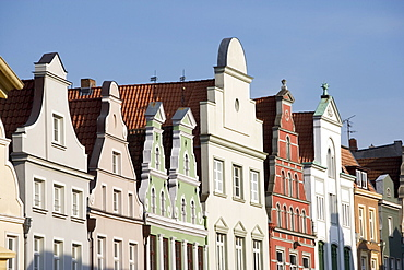 Gable Houses on the Kraemerstrasse in Wismar, Mecklenburg-Western Pomerania, Germany, Europe